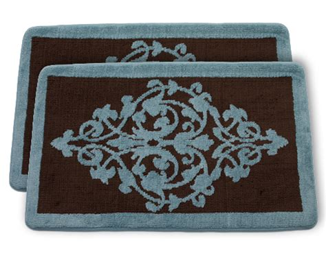 blue and brown bathroom rugs set of two memory foam bathmats