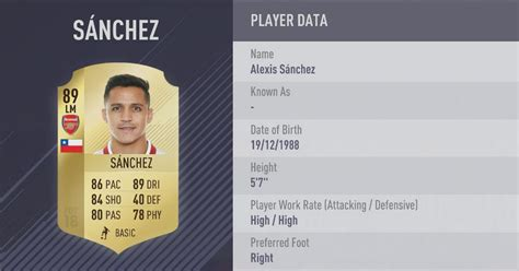 alexis sanchez fifa 18 review arsenal fifa 18 player ratings revealed as alexis sanchez