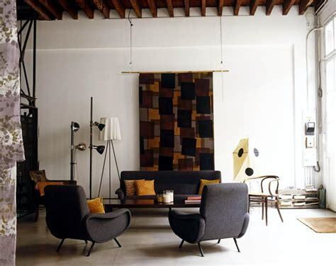 60s wohnzimmer living room with a sofa and an armchair upholstered in
