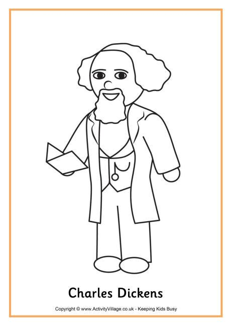 charles dickens biography ks1 charles dickens colouring page
