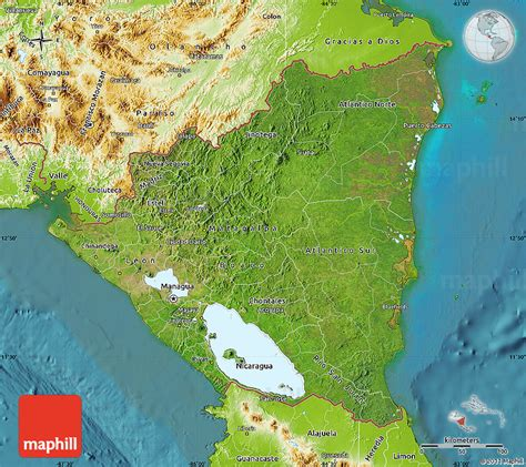 physical map of nicaragua satellite map of nicaragua physical outside satellite sea