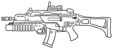 assault riffle g36c with accesories outlines by rydzu on