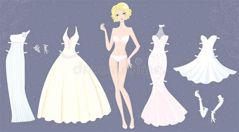Paper Dolls With White Wedding Dresses by Paper Doll Of With Wedding Dresses Stock Vector