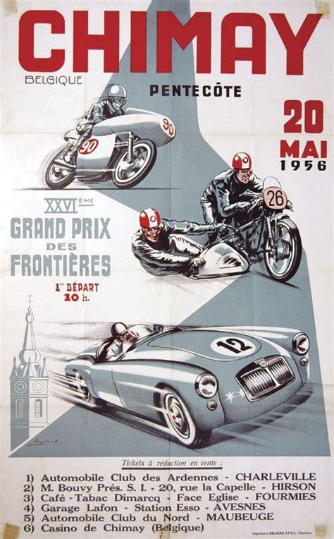 Poster Retro Otomotif 1956 xvi grand prix des frontieres chimay belgium classic racing grand