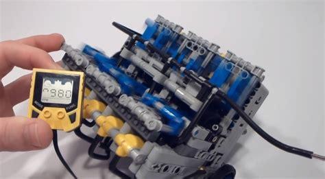 lego engine tutorial watch a lego v10 build tutorial engine runs at 1 250 rpm