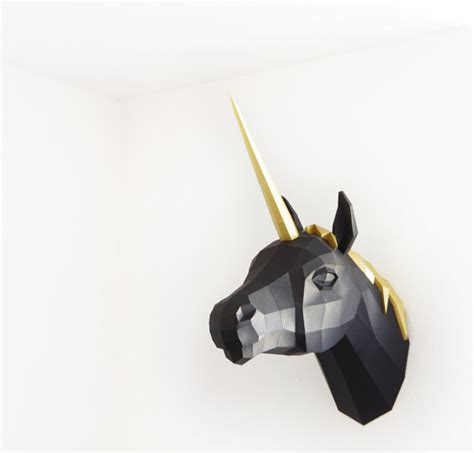 Unicorn Papercraft - papercraft unicorn premium gold black