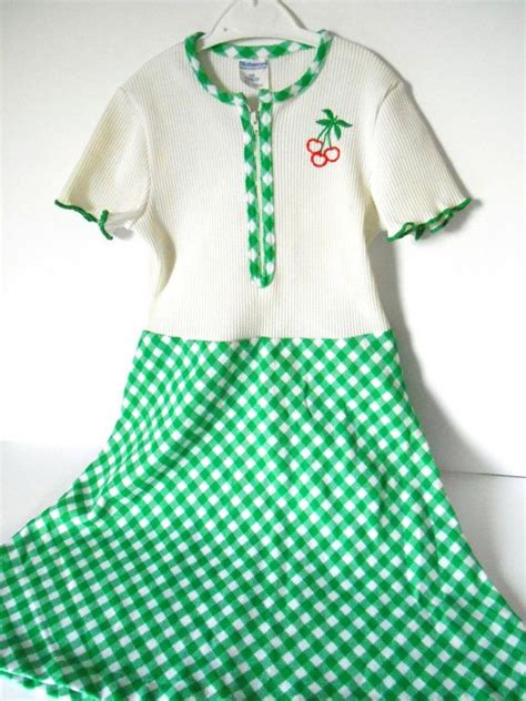 Mothercare Dress 70 s mothercare cherry and green check vintage childs dress cherries vintage children and dresses