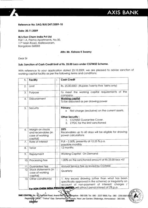 Education Loan Sanction Letter Format For Usa Axis Bank Sanction Letter