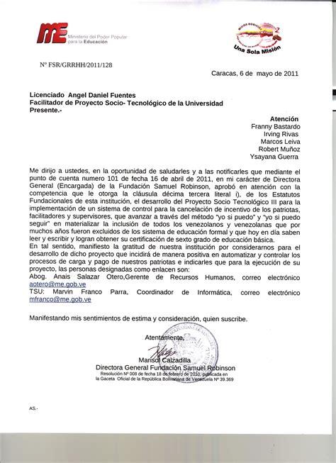 modelo de carta de aceptacion de universidad para cadivi carta aceptaci 243 n fundaci 243 n samuel robinson proyecto socio tecnol 211 gico iii
