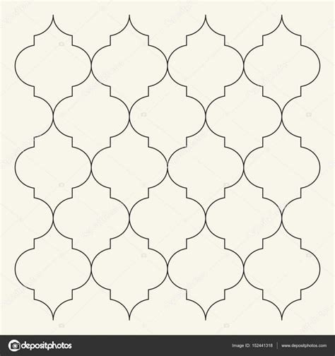 flat outline moroccan pattern tile template stock