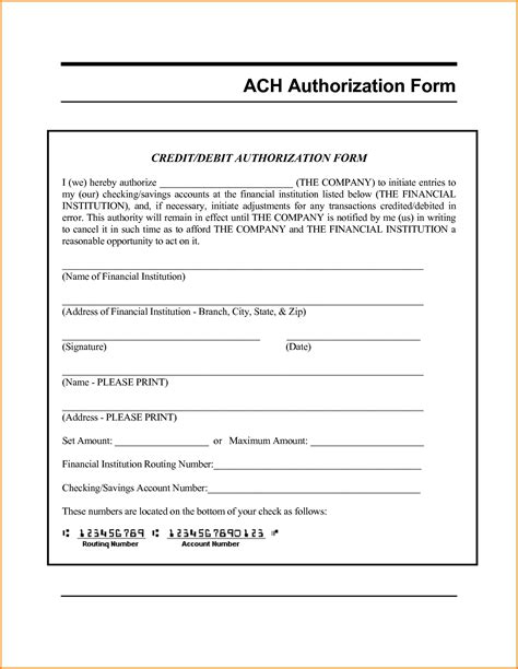Ach Vendor Payment Form Template Ach Form Template Templates Station