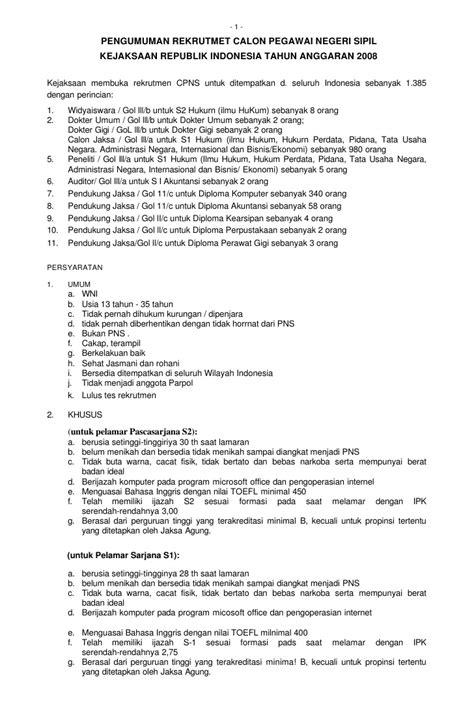 Contoh Surat Lamaran Pendaftaran Cpns Kejaksaan Agung by Cpns Kejaksaan 2008