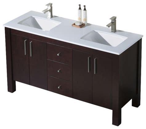 Parsons Vanity by Parsons 60 Sink Vanity Espresso Beige Sink Gray