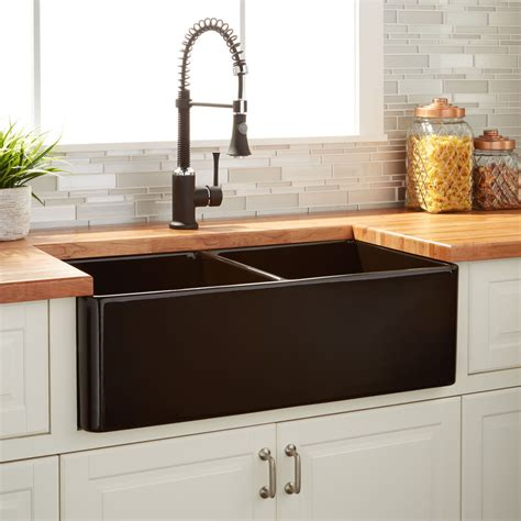 Kitchen With Farm Sink by 33 Quot Reinhard Bowl Fireclay Farmhouse Sink Black