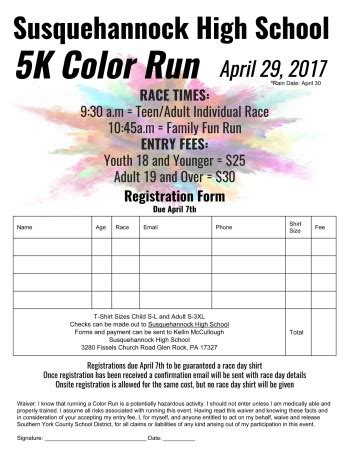 register for the 5k color run