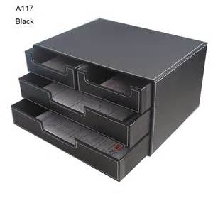 4 drawer black leather office filing cabinet desk document