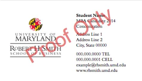 student business cards masters programs office