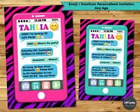emoji personalised invitations emoticon birthday party