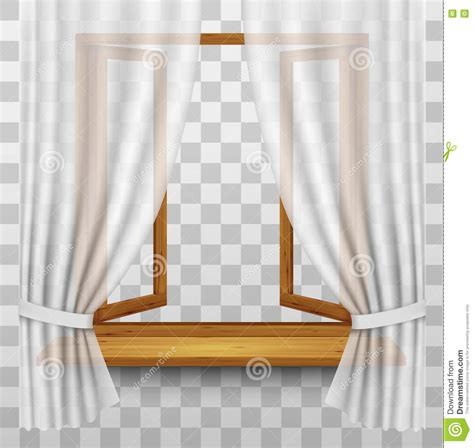 wooden window frame with curtains wooden window frame with curtains on a transparent