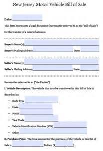 jersey motor vehicle car auto bill of sale form pdf word doc