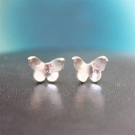 Handmade Studs - handmade silver butterfly stud earrings by jemima lumley