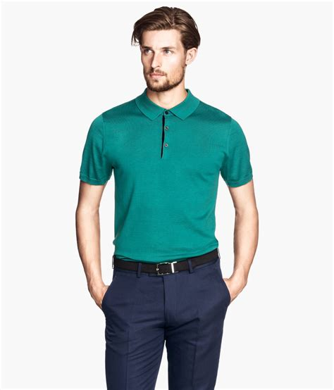 Polo Shirt Armour Performance Premium Impor Best Quality Termura h m polo shirt in a silk mix in green for lyst
