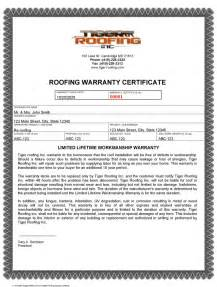 roof certification template lifetime workmanship warranty tiger roofing cambridge