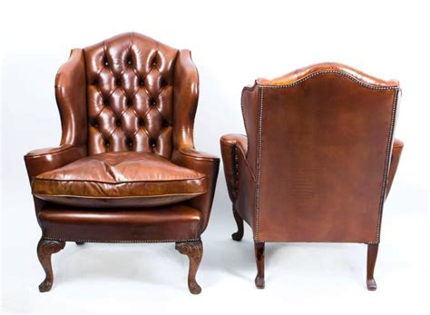 antique armchairs for sale antique pair english leather wingback armchairs circa