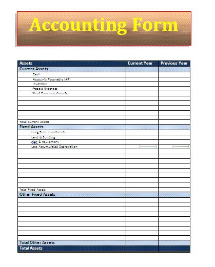 accounting form accounting forms az word templates and forms