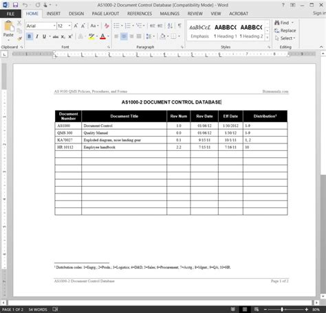 as9100 document control database template
