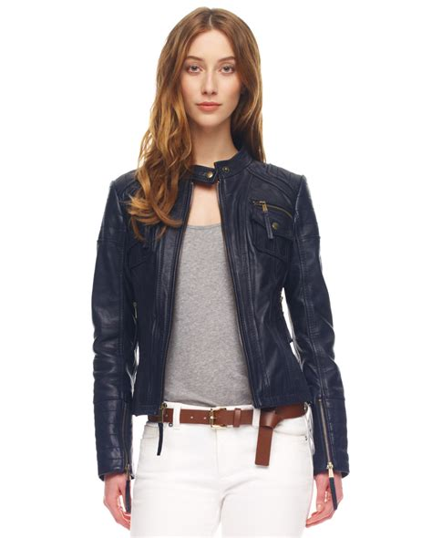 leather cycle jacket lyst michael kors leather motorcycle jacket in blue