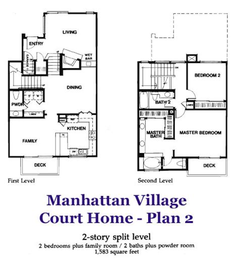 2 level floor plans manhattan village court home plan 2 floorplan