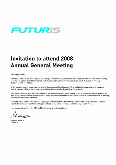 Email Invitation To A Meeting Template