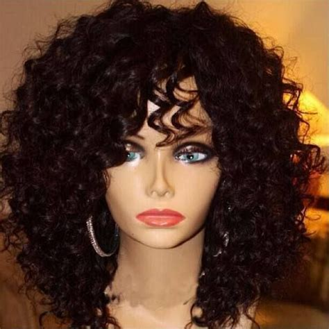 Black Human Curly Fall | cheap 8a best virgin brazilian kinky curly full lace wig