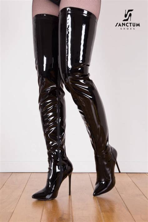 black shiny giaro 12cm heeled thigh high boots