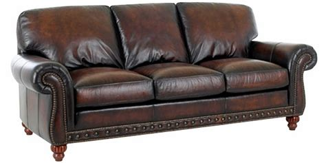Leather World Sofa Traditional Style World Leather Sofa W Rolled Arms Nail Trim