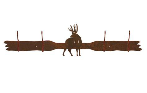 mule deer four hook metal wall coat rack