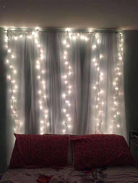hang   curtain rod  hang  sheer curtains   tacks  hang   string lights