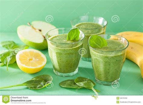 Apple Banana Detox Smoothie by Healthy Green Smoothie With Spinach Leaves Apple Lemon