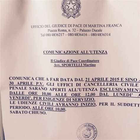 ufficio di collocamento martina franca martina franca ufficio giudice di pace chiuso