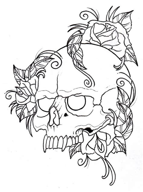 tattoo outline pen skull and wings tattoo design drawn with color pencils and