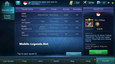 font mobile legend join or create squad 2018 mobile legends