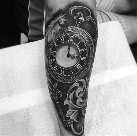 black and grey key tattoo 100 pocket watch tattoo designs for men cool timepieces