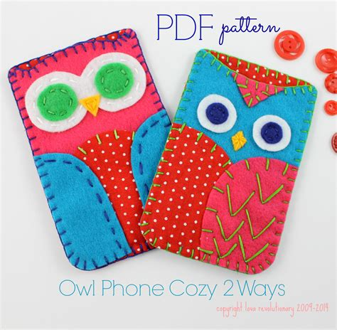 crafts patterns pdf felt craft pattern owl phone sewing embroidery