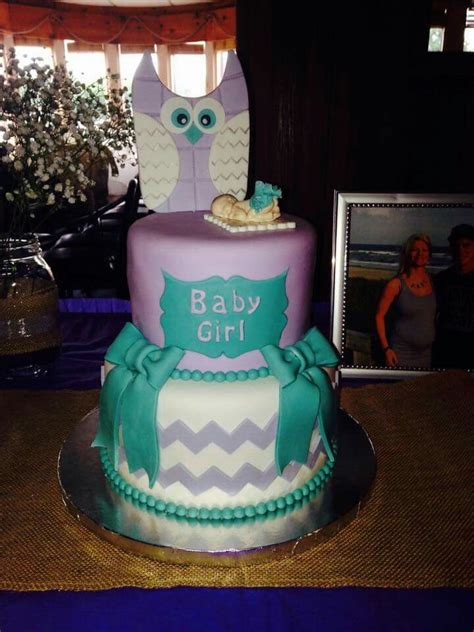 owl themed baby shower cake purple  teal  gray chevron  cute check