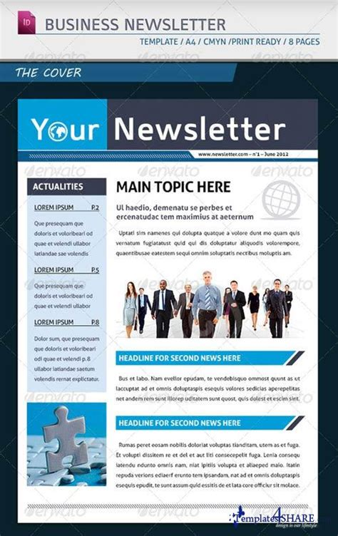 newsletter template indesign free graphicriver modern business newsletter template a4