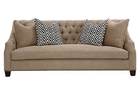burlap couch luis 91 quot tufted burlap sofa khaki