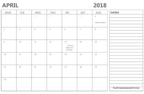 Calendar Template 2018 April April 2018 Calendar Templates