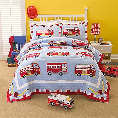 fire truck bedding buy cotton fire truck twin quilt set from bed bath beyond