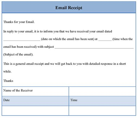 receipt template for email sle of email receipt